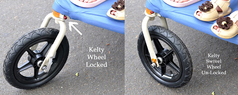 Kelty Speedster Swivel Deuce Wheel Locked and Unlocked