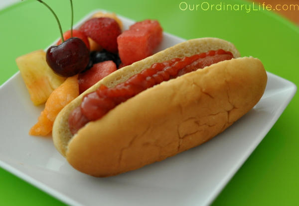 classic hotdog and fruit