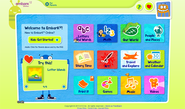 EmbarK¹² Online Learning Pre-K Kindergarten screenshot