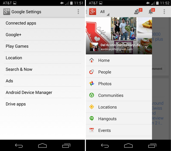 Google+ On Moto X Android Smartphone