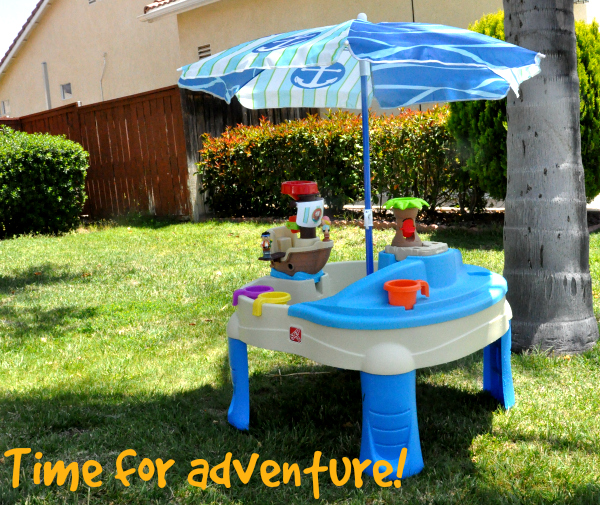 summer fun with step2 high seas adventure sand water table with umbrella. Black Bedroom Furniture Sets. Home Design Ideas