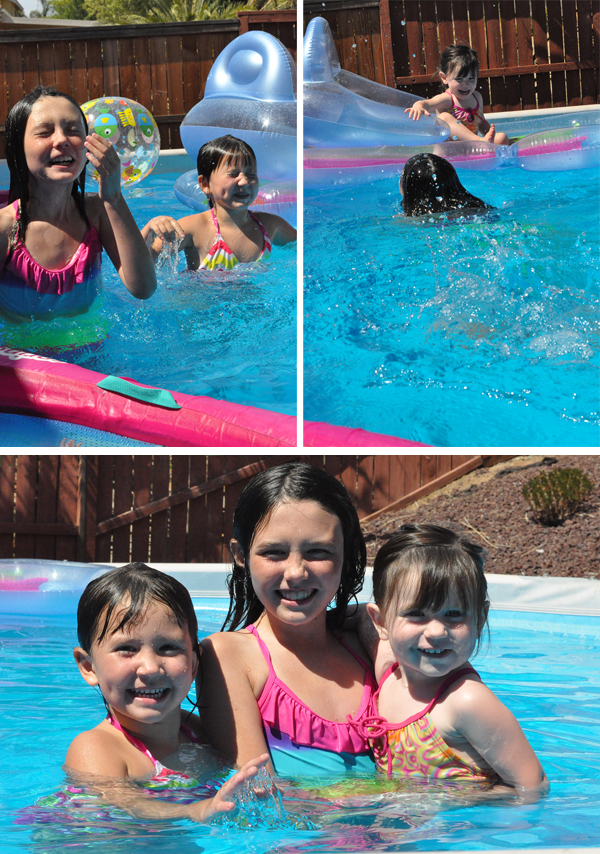 kids in above ground swimming pool playing