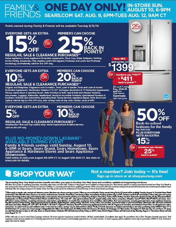 sears family and friends sale