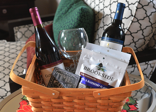 Brookside Chocolates Wine Basket Holiday Gift