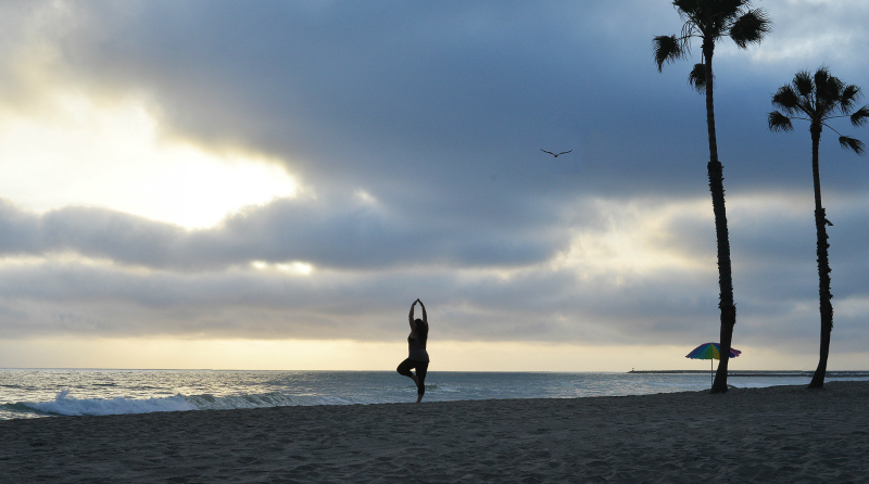 my yoga pose at beach oceanside, ca sunset