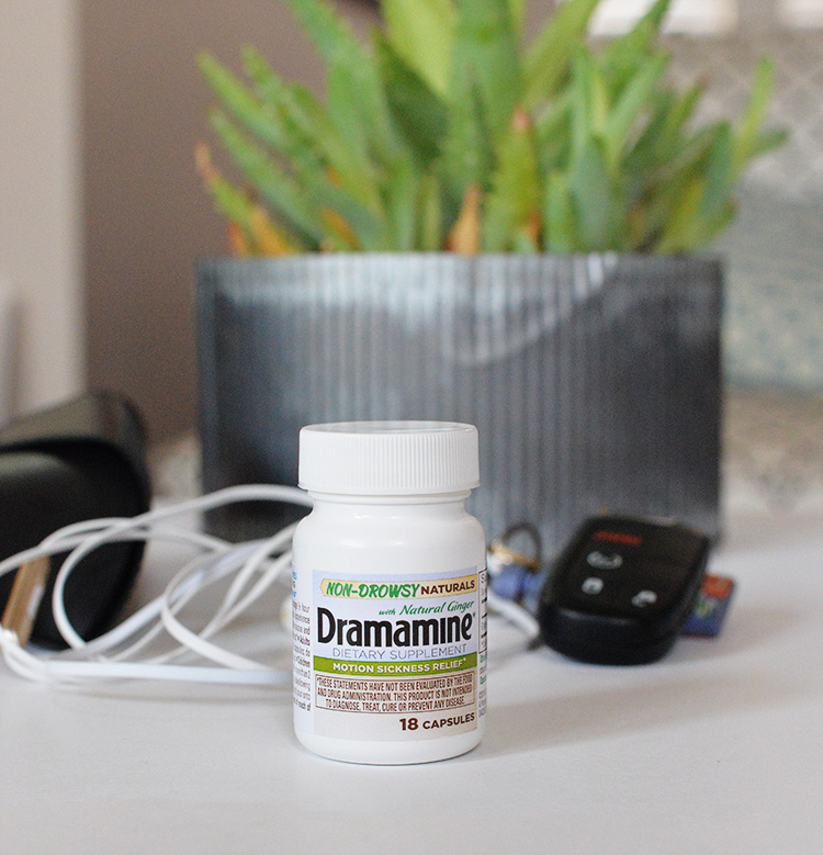 Dramamine Motion Sickness Relief keep in car