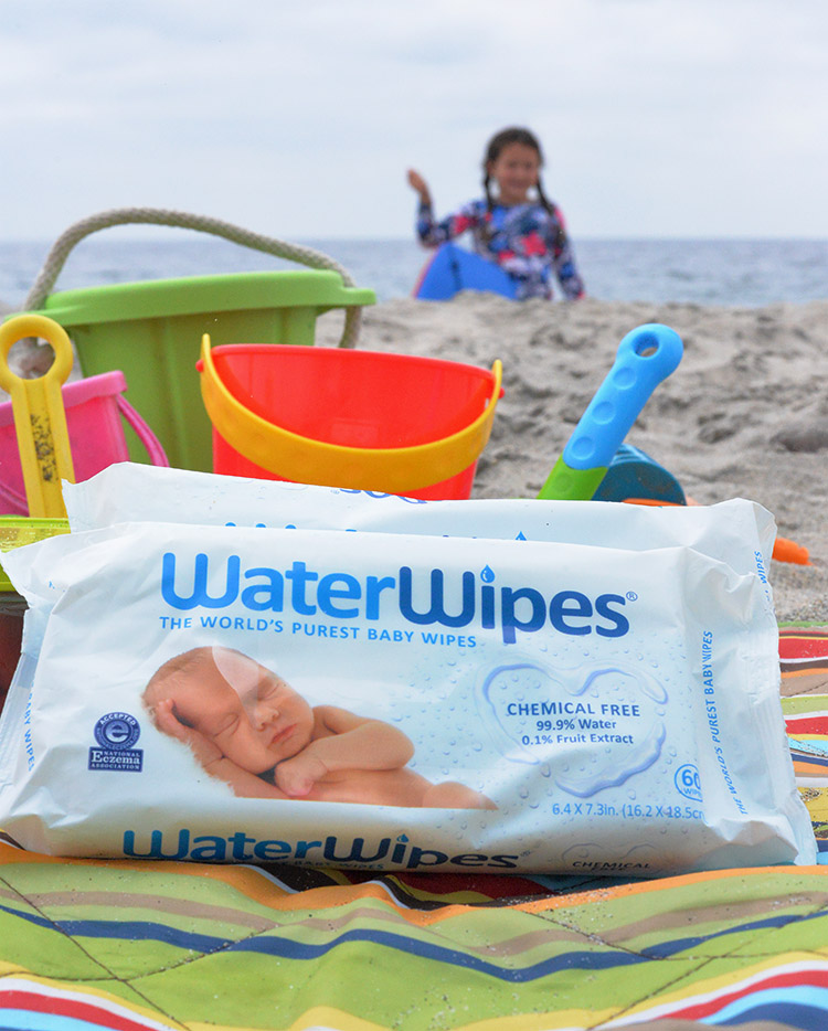 WaterWipes wipes at beach