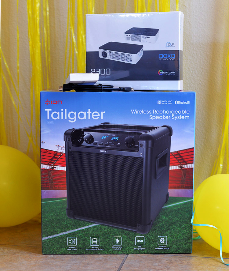 projector wireless speaker outdoor movie night