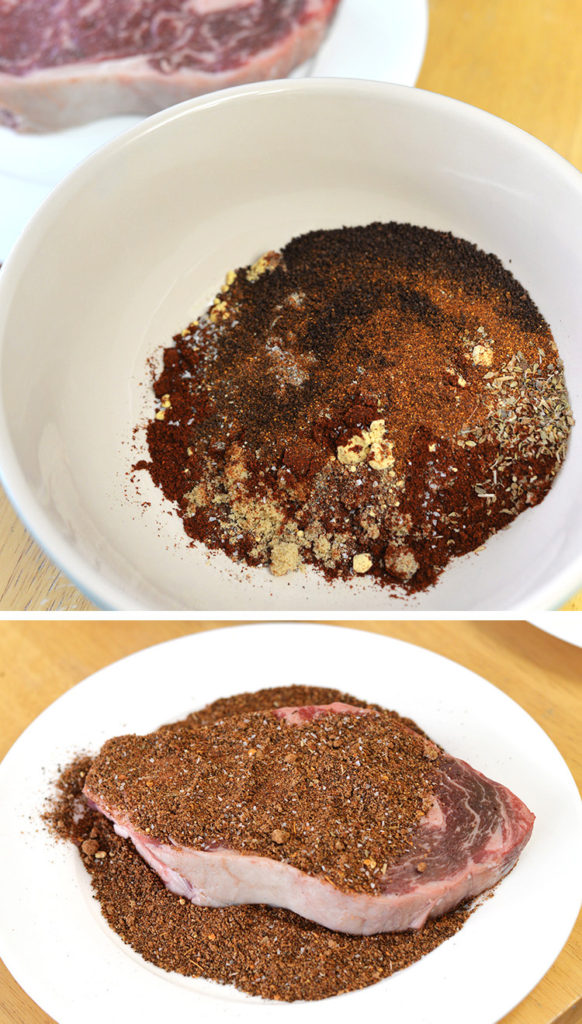 homemade chili rub powder ribeye steak