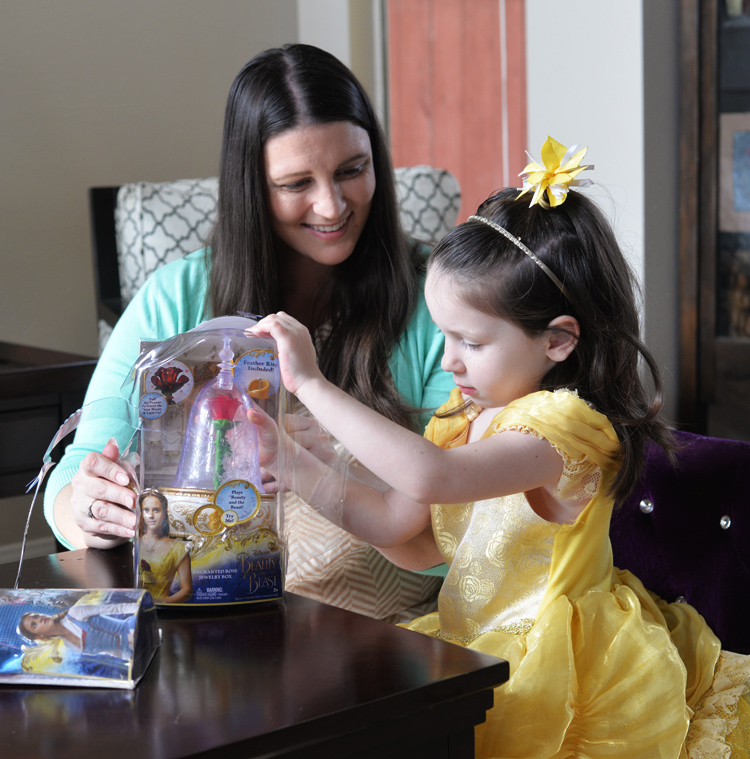 mom daughter playing with beauty beast doll toy