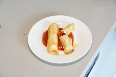 halloween bloody witch fingers breaded cheese with marinara