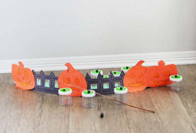 Halloween pumpkin fishing for candy craft for kids display