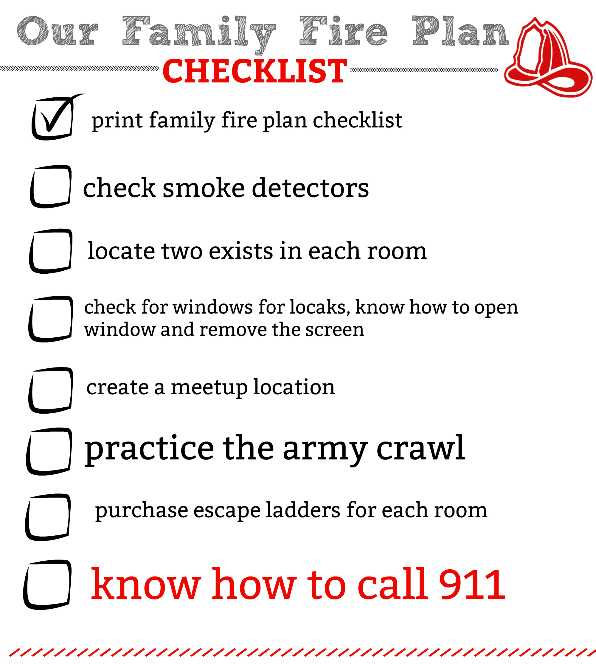 Our Family Fire Plan Checklist Our Ordinary Life
