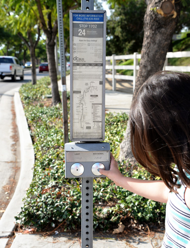 stop 1702 Route 24 Fullerton Orange County Bus Stop signal Lights
