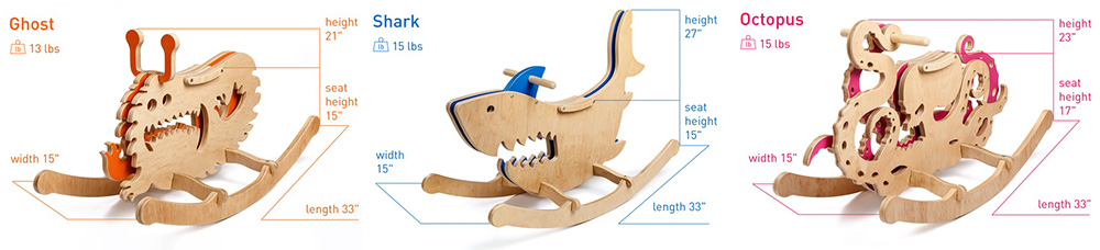 rocking monster wooden rocking horse ghost monster shark