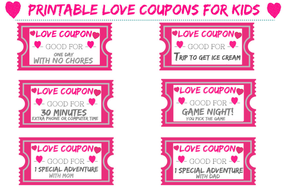 free printable love coupons for kids for valentines day