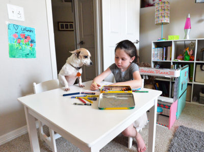 dog toddler kid girl table coloring