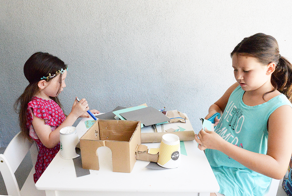 kids creating building hamster castle cage diy course