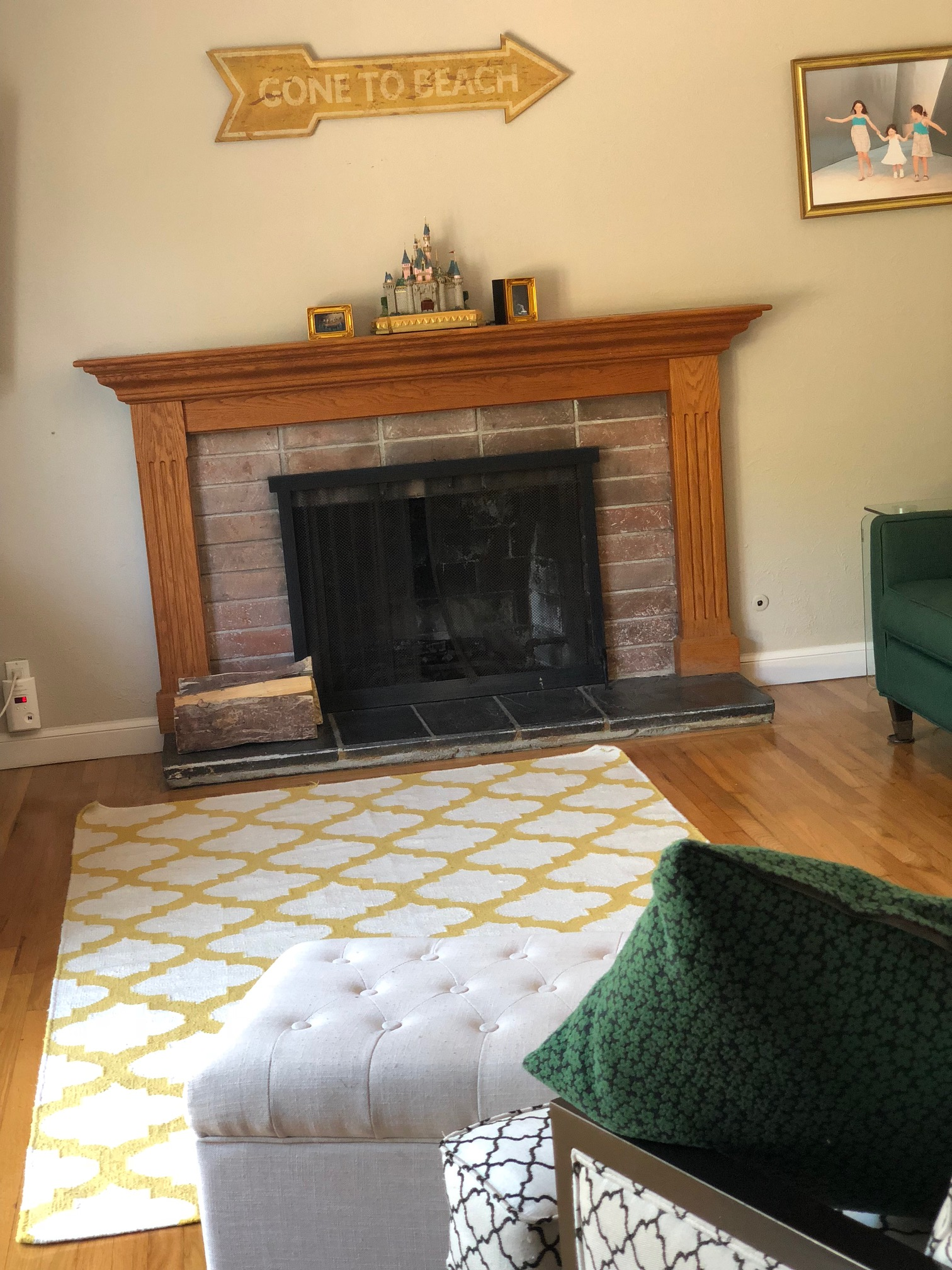 living room with fire safety